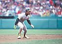Oakland A's Rickey Henderson(42) in action during a game from his 1990 season against the Boston Red Sox at Fenway Park in Boston, Massachusetts. Rickey Henderson played for 25 years with 9 different teams and was inducted to the Baseball Hall of Fame in 2009.