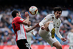 Real Madrid's Jesus Vallejo and Athletic Club de Bilbao's Raul Garcia during La Liga match between Real Madrid and Athletic Club de Bilbao at Santiago Bernabeu Stadium in Madrid, Spain. April 21, 2019. (ALTERPHOTOS/A. Perez Meca)