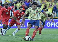 BOGOTA - COLOMBIA, 03-06-2019: Falcao Garcia jugador de Colombia dispara para anotar el tercer gol de su equipo durante partido amistoso entre Colombia y Panamá jugado en el estadio El Campín en Bogotá, Colombia. / Falcao Garcia player of Colombia shoots to score the third goal of his team during a friendly match between Colombia and Panama played at Estadio El Campin in Bogota, Colombia. Photo: VizzorImage/ Gabriel Aponte / Staff