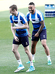 Leicester City FC's Jamie Vardy (l) and Danny Simpson during training session. April 11, 2017.(ALTERPHOTOS/Acero)