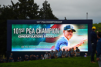 The video board congratulates Brooks Koepka (USA) near the green on 18 following round 4 of the 2019 PGA Championship, Bethpage Black Golf Course, New York, New York,  USA. 5/19/2019.<br /> Picture: Golffile | Ken Murray<br /> <br /> <br /> All photo usage must carry mandatory copyright credit (© Golffile | Ken Murray)