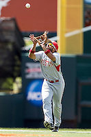 Houston Cougars shortstop Frankie Ratcliff (7) makes a catch during the NCAA Super Regional baseball game against the Texas Longhorns on June 7, 2014 at UFCU Disch–Falk Field in Austin, Texas. The Longhorns are headed to the College World Series after they defeated the Cougars 4-0 in Game 2 of the NCAA Super Regional. (Andrew Woolley/Four Seam Images)