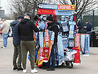 A vendor sells scarves and other memorabilia outside the the Etihad stadium, home of Manchester City<br /> <br /> Photographer Rich Linley/CameraSport<br /> <br /> UEFA Champions League Quarter-Final Second Leg - Manchester City v Liverpool - Tuesday 10th April 2018 - The Etihad - Manchester<br />  <br /> World Copyright &copy; 2017 CameraSport. All rights reserved. 43 Linden Ave. Countesthorpe. Leicester. England. LE8 5PG - Tel: +44 (0) 116 277 4147 - admin@camerasport.com - www.camerasport.com