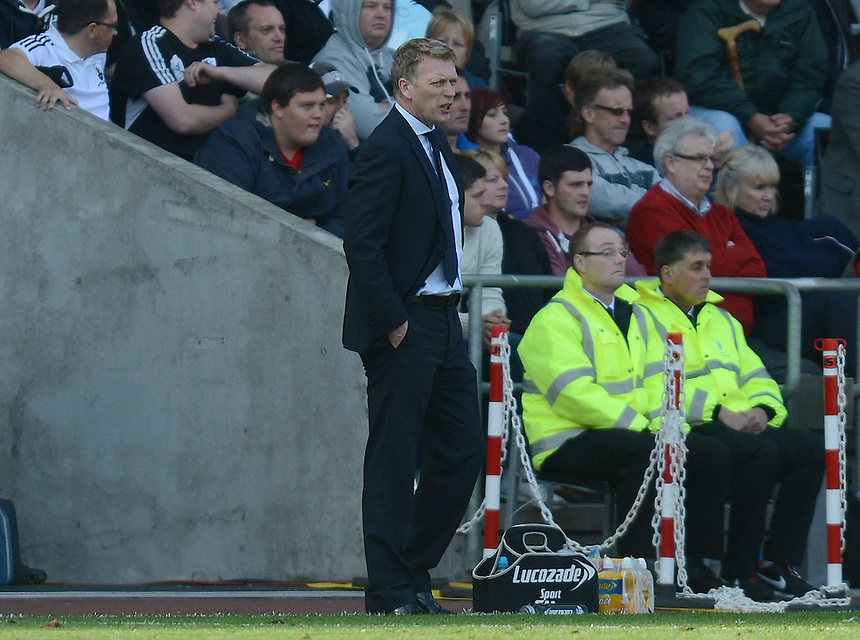 Everton's Manager David Moyes watches from the technical area ..Football - Barclays Premiership - Swansea City v Everton - Saturday 22nd September 2012 - Liberty Stadium - Swansea..