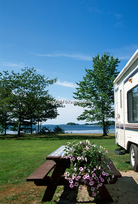 Campsite at the former Flying Point Campground (now owned by LL Bean), Freeport, Maine, USA