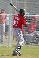 Boston Red Sox minor league player Roberto Ramos #30 during a spring training game vs the Baltimore Orioles at the Buck O'Neil Complex in Sarasota, Florida;  March 22, 2011.  Photo By Mike Janes/Four Seam Images
