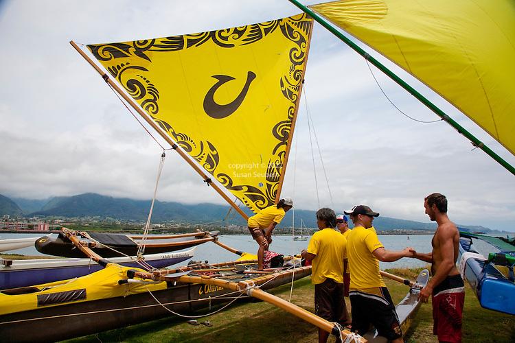 The Hawaiian Sailing Canoe Association's race from Kahului Harbor to Ka'anapali Beach on the island of Maui, Hawaii. Each canoe holds six people and are known in Hawaiian as wa'a kiakahi, which means single mast canoe.