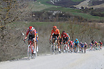 The peloton including Tim Wellens (BEL) Lotto-Soudal, Julian Alaphilippe (FRA) Deceuninck-Quick Step and Greg Van Avermaet (BEL) CCC Team give chase on sector 8 Monte Santa Maria during Strade Bianche 2019 running 184km from Siena to Siena, held over the white gravel roads of Tuscany, Italy. 9th March 2019.<br /> Picture: Seamus Yore | Cyclefile<br /> <br /> <br /> All photos usage must carry mandatory copyright credit (© Cyclefile | Seamus Yore)