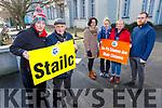 Official Strike Action at Gael Coláiste Chiarrai on Tuesday morning.<br /> Front Sinead Ní Chathasaigh and Tomas MacMhuris.<br /> Back l to r: Hilda Uí Nualláin, Sinead Ní Riain, Elma Uí Shúilleabháin and Colm Coiléain.