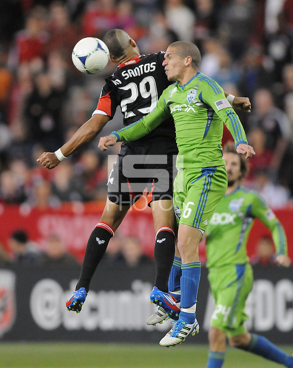 Seattle Sounder midfielder Osvaldo Alonso (6) heads the ball against D.C. United forward Santos Maicon (29)  D.C. United tied The Seattle Sounders 0-0 at RFK Stadium, Saturday April 7 , 2012.