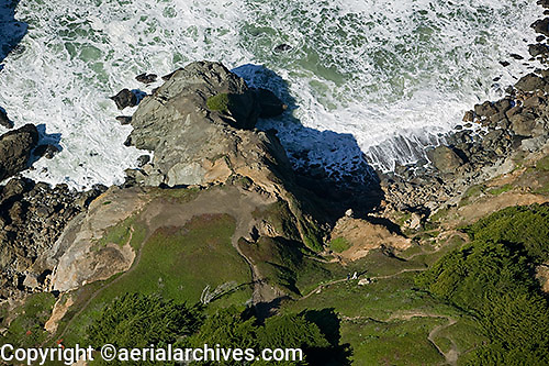 aerial photograph of trail leading down cliffs at Pacific Ocean Presidio of San Francisco California