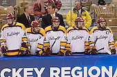 Joe Basaraba (Duluth - 18), Derek Plante (Duluth - Assistant Coach), Travis Oleksuk (Duluth - 11), Scott Sandelin (Duluth - Head Coach), Keegan Flaherty (Duluth - 14), Jake Hendrickson (Duluth - 15), Jack Connolly (Duluth - 12) - The University of Minnesota Duluth Bulldogs defeated the University of Maine Black Bears 5-2 in their NCAA Northeast semifinal on Saturday, March 24, 2012, at the DCU Center in Worcester, Massachusetts.