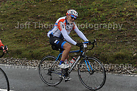 Competitors climb the challenging iconic and notorious 6km 10% stretch of road namely The Tumble during the Wales Velothon 2016 140km route cycling race. Age is no barrier for this competitor. <br /> <br /> <br /> Jeff Thomas Photography -  www.jaypics.photoshelter.com - <br /> e-mail swansea1001@hotmail.co.uk -<br /> Mob: 07837 386244 -