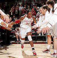 STANFORD, CA - November 30, 2011:  Nnemkadi Ogwumike is introduced before Stanford's 93-44 victory over UC Davis in Stanford, California on November 30, 2011.