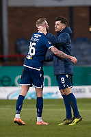 8th February 2020; Dens Park, Dundee, Scotland; Scottish Championship Football, Dundee versus Partick Thistle; Shaun Byrne of Dundee hugs Christie Elliott at the end of the match