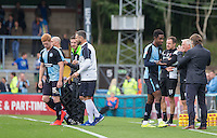 Jason Banton of Wycombe Wanderers is replaced by Ryan Sellers (left) of Wycombe Wanderers during the Sky Bet League 2 match between Wycombe Wanderers and Hartlepool United at Adams Park, High Wycombe, England on 5 September 2015. Photo by Andy Rowland.