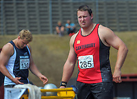 Auckland's Jack Gill (left) and Canterbury's Tom Walsh competes in the senior men's shot put on day three of the 2015 National Track and Field Championships at Newtown Park, Wellington, New Zealand on Sunday, 8 March 2015. Photo: Dave Lintott / lintottphoto.co.nz
