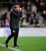 Scunthorpe United manager Stuart McCall reacts after his side failed to convert a free kick<br /> <br /> Photographer Chris Vaughan/CameraSport<br /> <br /> The EFL Sky Bet League One - Scunthorpe United v Peterborough United - Saturday 13th October 2018 - Glanford Park - Scunthorpe<br /> <br /> World Copyright &copy; 2018 CameraSport. All rights reserved. 43 Linden Ave. Countesthorpe. Leicester. England. LE8 5PG - Tel: +44 (0) 116 277 4147 - admin@camerasport.com - www.camerasport.com