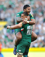 Steve Mafi and Manu Tuilagi celebrate at the final whistle. Aviva Premiership Final, between Leicester Tigers and Northampton Saints on May 25, 2013 at Twickenham Stadium in London, England. Photo by: Patrick Khachfe / Onside Images