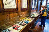 Wenzhou, Zhejiang, China.  Opera Masks on Display, Southern Opera Museum.