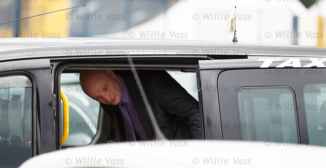 Dundee Utd chairman Stephen Thompson leaving today's SPL AGM at Hampden