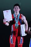Yoichi Itokazu, <br /> MAY 21, 2016 - Weightlifting : <br /> All Japan Weightlifting Championship 2016 Men's -62kg <br /> Award Ceremony at Yamanashi Municipal Gymnasium, Yamanashi, Japan. <br /> (Photo by AFLO SPORT)