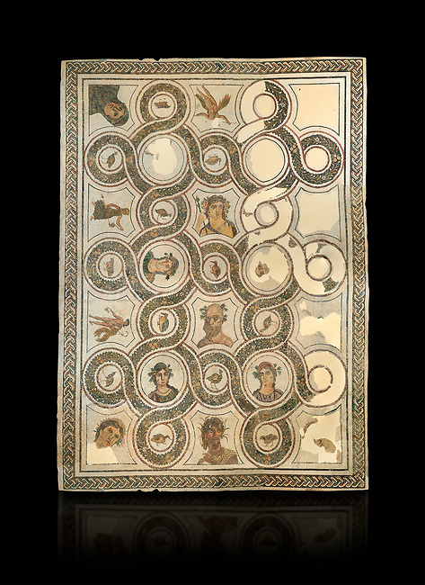 Picture of a Roman mosaics design depicting Sileuns and two of the Four Seasons, from the ancient Roman city of Thysdrus. 3rd century AD. El Djem Archaeological Museum, El Djem, Tunisia. Against a black background