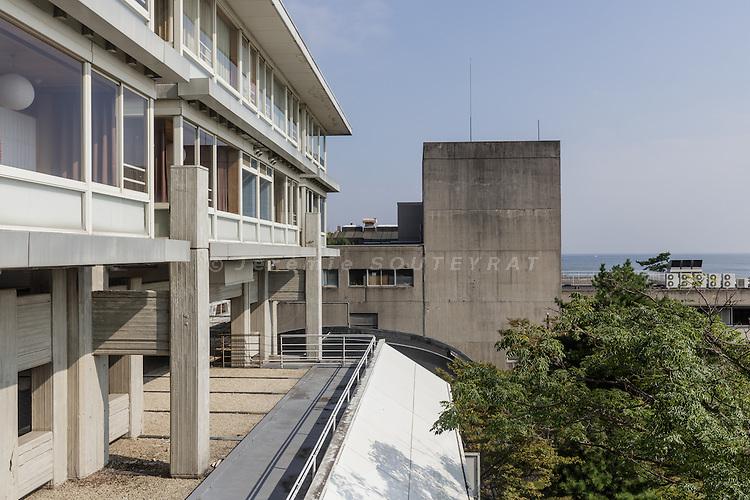 Yonago town, Tottori prefecture, Japan, September 9 2016 - Hotel Tokoen designed by Kiyonori KIKUTAKE, completed in 1964.