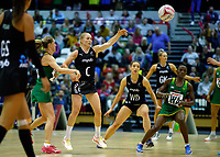 20.01.2019 Silver Ferns in action during the Silver Ferns v South Africa netball test match at the Copper Box Arena, London. Mandatory Photo Credit ©Michael Bradley Photography/Ben Queenborough.20.01.2019 Laura Langman of the Silver Ferns  during the Silver Ferns v South Africa netball test match at the Copper Box Arena, London. Mandatory Photo Credit ©Michael Bradley Photography/Ben Queenborough.