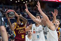Real Madrid Fabien Causeur and Felipe Reyes and Herbalife GC Jerome Seeley during Liga Endesa match between Real Madrid and Herbalife GC at Wizink Center in Madrid, Spain. December 03, 2017. (ALTERPHOTOS/Borja B.Hojas) NortePhoto.con NORTEPHOTOMEXICO
