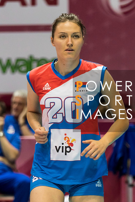 Wing spiker Jelena Blagojevic of Serbia reacts during warm up section prior the FIVB Volleyball World Grand Prix - Hong Kong 2017 match between Japan and Serbia on 22 July 2017, in Hong Kong, China. Photo by Yu Chun Christopher Wong / Power Sport Images