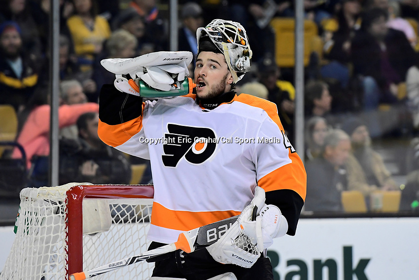 March 8, 2018: Philadelphia Flyers goaltender Alex Lyon (49) gets a break during the NHL game between the Philadelphia Flyers and the Boston Bruins held at TD Garden, in Boston, Mass. Boston defeats Philadelphia 3-2 in regulation time. Eric Canha/CSM