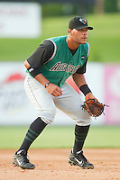 Third baseman Chris Dominguez #19 of the Augusta GreenJackets on defense against the Kannapolis Intimidators at Fieldcrest Cannon Stadium June 24, 2010, in Kannapolis, North Carolina.  Photo by Brian Westerholt / Four Seam Images