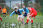 On Saturday Castlemaine Youths traveled to Cahersiveen to take on Iveragh, pictured here David O'Sullivan for Iveragh on an attacking run is disposessed by Castlemaine Gavan Horan with support from Sean Hillard, Iveragh United 4 - Castlemaine 1.