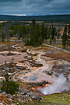 Steam rising from geothermal vents and hot springs at Artists Paintpots, near Norris, Yellowstone National Park, Wyoming