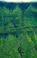 Aerial of waterfalls near Hanalei on the north shore of Kauai