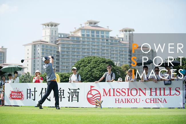 Luis Garcia tees off the 10th hole during the World Celebrity Pro-Am 2016 Mission Hills China Golf Tournament on 22 October 2016, in Haikou, China. Photo by Marcio Machado / Power Sport Images