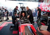 Feb 7, 2020; Pomona, CA, USA; Crew members for NHRA top fuel driver Doug Kalitta during qualifying for the Winternationals at Auto Club Raceway at Pomona. Mandatory Credit: Mark J. Rebilas-USA TODAY Sports
