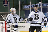 Branden Komm (Bentley - 30), Zach Marginsky (Bentley - 19) - The Bentley University Falcons defeated the College of the Holy Cross Crusaders 3-2 on Saturday, December 28, 2013, at Fenway Park in Boston, Massachusetts.