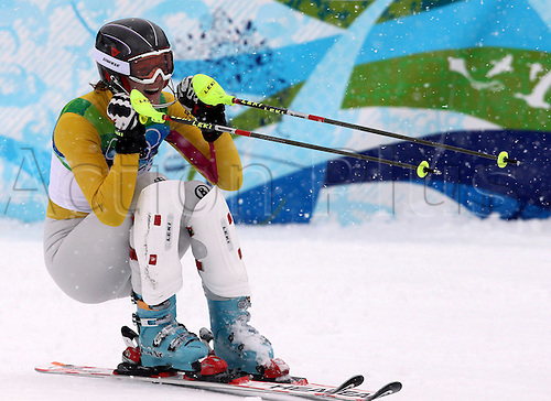 26 02 2010 Copyright Actionplus/GEPA Pictures . 2010 Vancouver Winter Olympic Games. Whistler Canada 26 Feb 10  Ski Alpine Slalom for women Picture shows the cheering from Mary Riesch ger .  Photo : Imago/Actionplus. Editorial Use UK.
