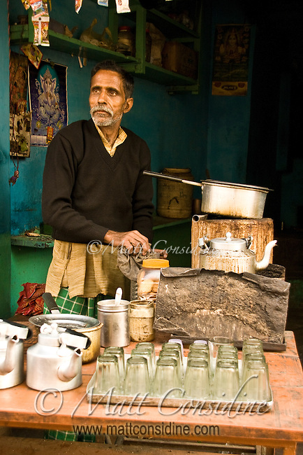 Chai wallah preparing  tea for  customers at  his small shop in Varanasi.<br /> (Photo by Matt Considine - Images of Asia Collection)