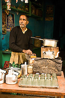 Chai wallah preparing  tea for  customers at  his small shop in Varanasi. (Photo by Matt Considine - Images of Asia Collection)