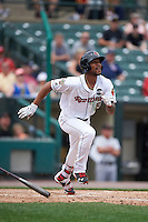 Rochester Red Wings center fielder Byron Buxton (53) hits a triple during a game against the Indianapolis Indians on May 26, 2016 at Frontier Field in Rochester, New York.  Indianapolis defeated Rochester 5-2.  (Mike Janes/Four Seam Images)
