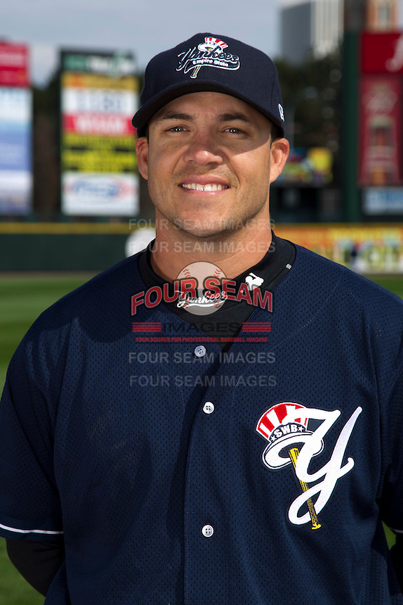 Scranton Wilkes-Barre Yankees infielder Steve Pearce poses for a photo during media day at Frontier Field on April 3, 2012 in Rochester, New York.  (Mike Janes/Four Seam Images)