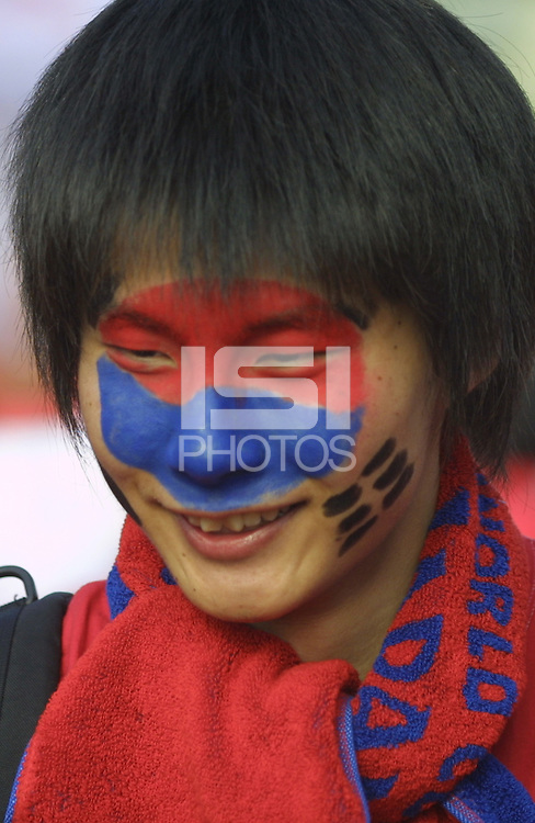 A South Korean National team supporter wears his team's colors for all to see before South Korea's 2002 FIFA World Cup semi-final match against Germany in Seoul, South Korea.