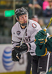 17 October 2015: University of Nebraska Omaha Maverick Defenseman Brian Cooper, a Senior from Anchorage, Alaska, in second period action against the University of Vermont Catamounts at Gutterson Fieldhouse in Burlington, Vermont. The Mavericks defeated the Catamounts 3-1 in the second game of their weekend series. Mandatory Credit: Ed Wolfstein Photo *** RAW (NEF) Image File Available ***