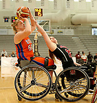 MARSHALL, MN - MARCH 17:  Rose Hollermann #54 from University of Texas Arlington shoots over Sarah Maynard #22 from Alabama during their championship game at the 2018 National Intercollegiate Wheelchair Basketball Tournament at Southwest Minnesota State University in Marshall, MN. (Photo by Dave Eggen/Inertia)