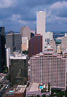 Aerial view of hotel buildings in the Central Business District and city of New Orleans skyline. New Orleans, Louisiana.