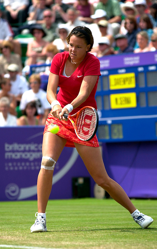 Photo. Rene Solari..23/6/01  .Eastbourne Day 6 - Finals.  Lindsay Davenport returns the ball with a double handed backhand as she beats Magui Serna to win the Final..