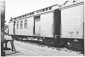 #60 baggage &amp; mail car at Alamosa.<br /> D&amp;RGW  Alamosa, CO  Taken by Maxwell, John W. - 7/4/1948